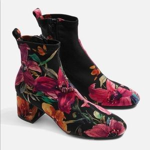 Topshop Buttercup Floral Sock Boot